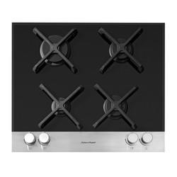 Fisher & Paykel CG604DFCTB1 89268 60cm Gas-on-Glass Hob - Black Glass With Brushed Steel Front Strip