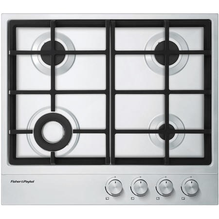 Fisher & Paykel 60cm Wide Gas on Steel Four Burner Hob Chrome Pin Stripe Detail