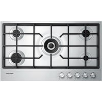 Fisher & Paykel 90cm Wide Gas on Steel 5 Burner Hob Chrome Pin Stripe Detail