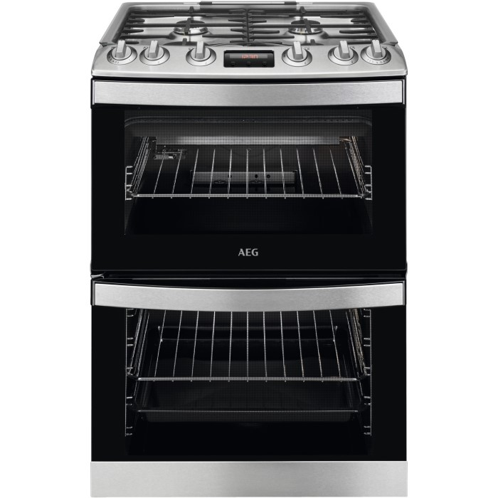 AEG CGB6133CCM 60cm Double Oven Gas Cooker With Lid - Stainless Steel