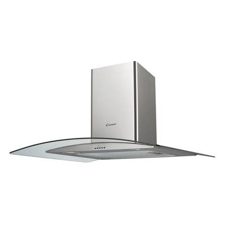 Candy CGM94X CGM91/1X 90cm Stainless Steel Chimney Cooker Hood With Curved Glass Canopy