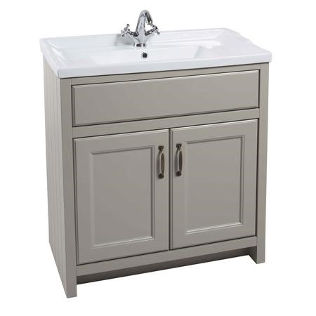 Grey Traditional Bathroom Free Standing Vanity Unit & Basin - W815mm