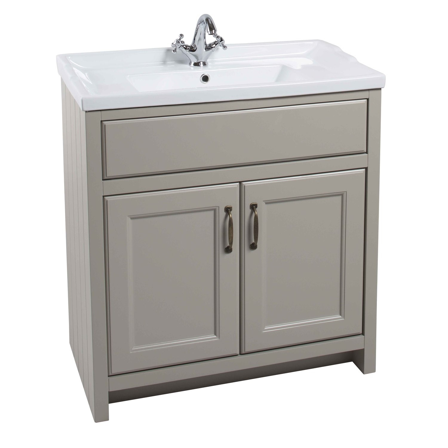 best service 12719 f44ad Grey Traditional Bathroom Free Standing Vanity Unit & Basin - W815mm