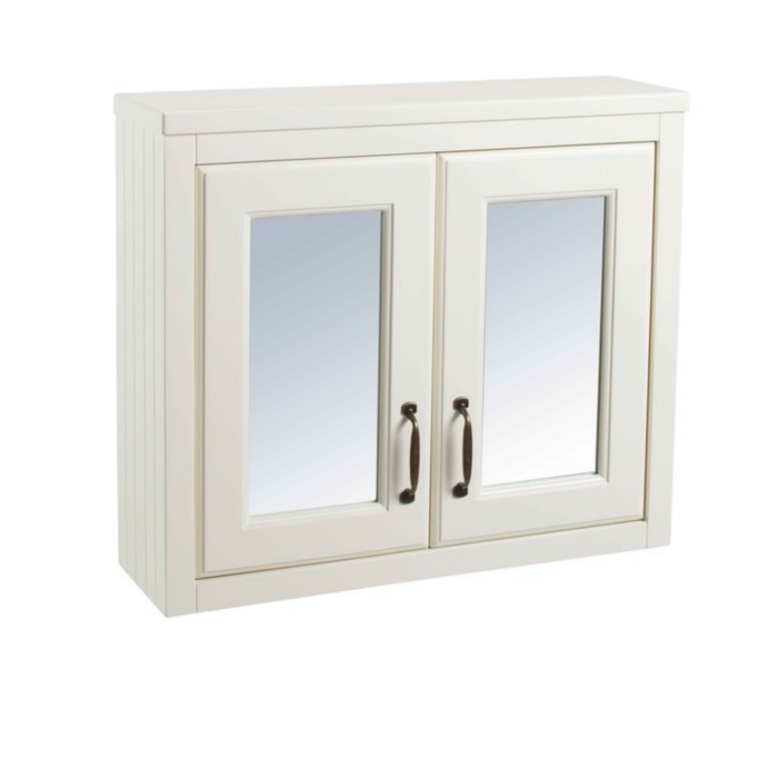White Traditional Bathroom Mirror Cabinet - W700mm CHART03-V