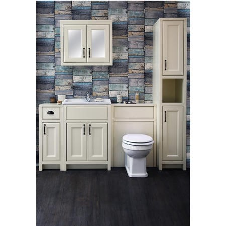 White Traditional Bathroom Mirror Cabinet - W700mm