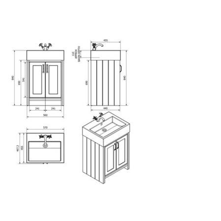 White Traditional Bathroom Vanity Unit & Basin - 570mm Wide