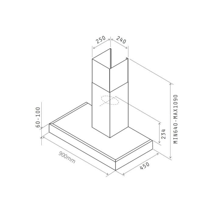 Nordmende CHBD903IX 90cm Box Design Chimney Cooker Hood