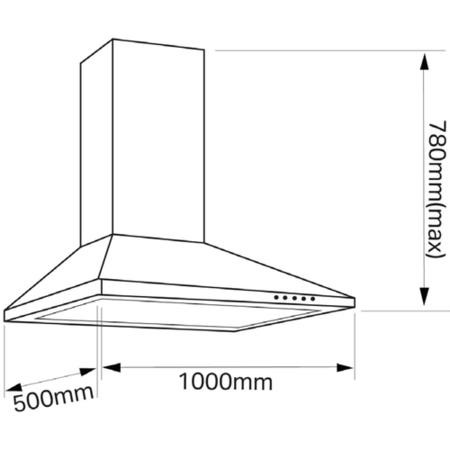 Montpellier CHC1012MSS 100cm Chimney Cooker Hood Stainless Steel