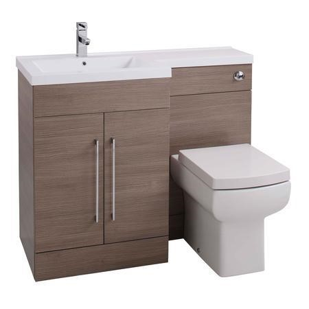 Moderno Medium Oak Left Hand Vanity Unit Furniture Suite - Includes Mid Edge Basin only - 1090mm