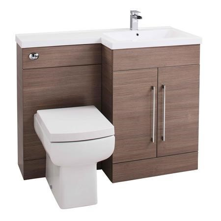 Moderno Medium Oak Right Hand Vanity Unit Furniture Suite   Includes Mid  Edge Basin Only   1090mm ...