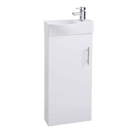 Micro White Mini Cloakroom Basin Unit - Includes Round Basin - 400mm