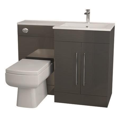 Moderno Anthracite Right Hand Vanity Unit Furniture Suite - Includes Thin Edge Basin only - 1090mm