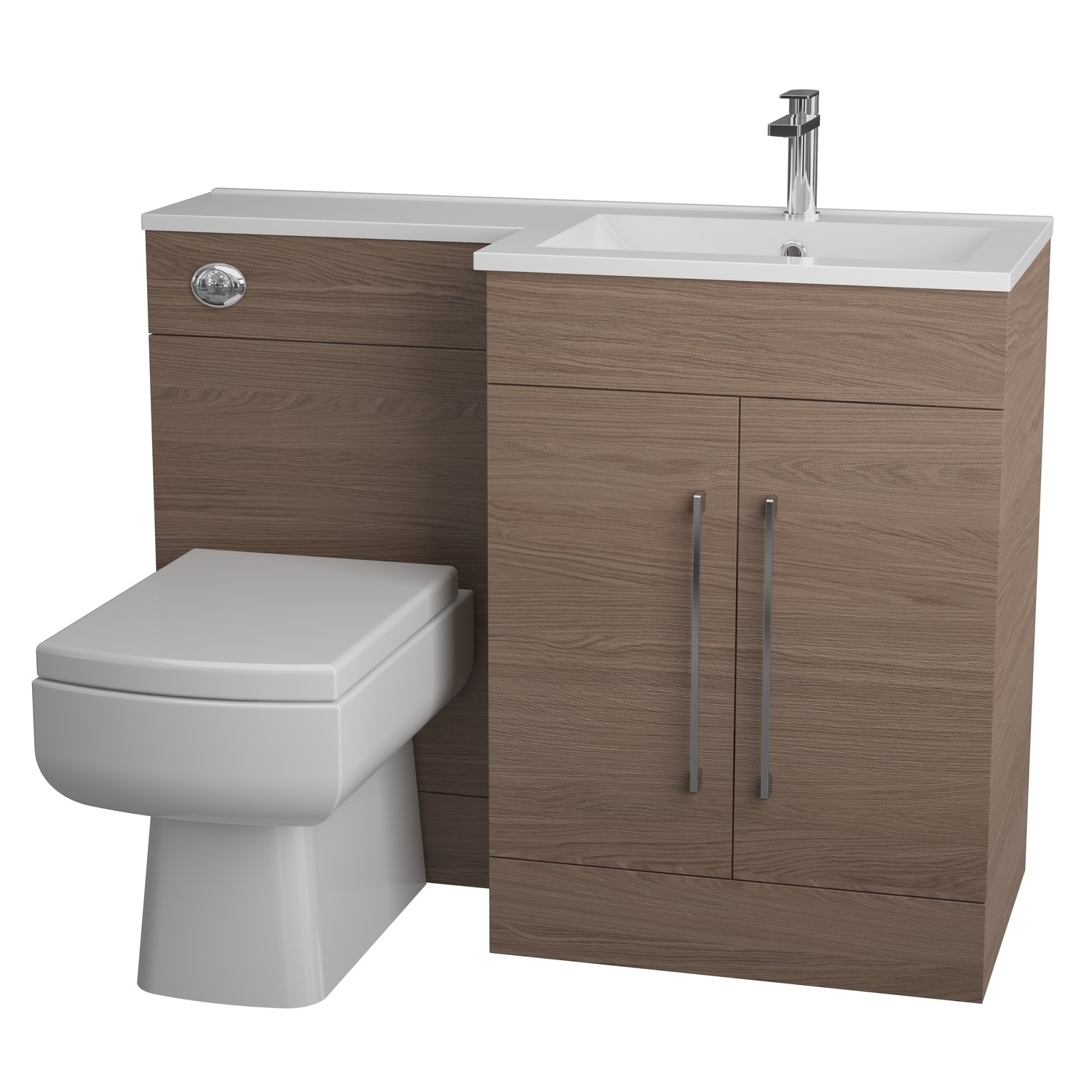 Moderno Medium Oak Right Hand Vanity Unit Furniture Suite   Includes Thin  Edge Basin Only