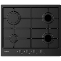 Candy CHW6BRBB 59cm Four Burner Gas Hob With Enamelled Pan Stands - Black