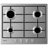 Candy CHW6BRX 59cm Four Burner Gas Hob With Enamelled Pan Stands - Stainless Steel