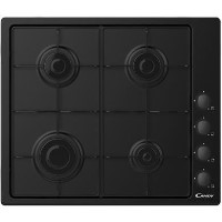 Candy CHW6LBB 60cm Four Burner Gas Hob With Enamelled Pan Stands - Black