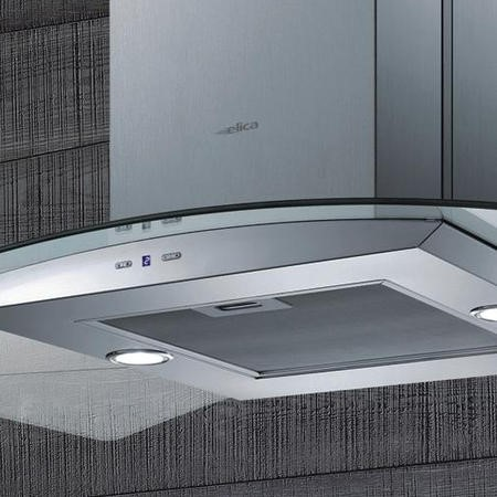 Elica CIRCUS-HE-ISL High Performance Curved Glass 90cm Island Cooker Hood Stainless Steel