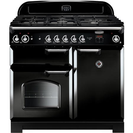 Rangemaster CLA100NGFBLC 11763 Classic 100cm Natural Gas Range Cooker  - Black With Chrome Trim