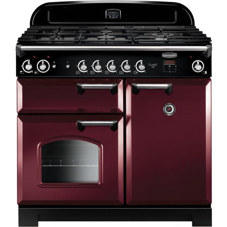 Rangemaster CLA100NGFCYC 11765 Classic 100cm Natural Gas Range Cooker  - Cranberry With  Chrome Trim