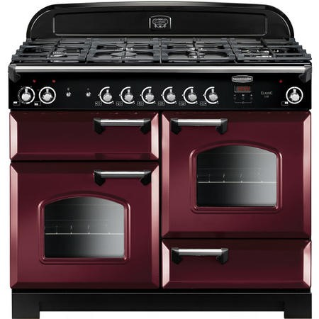 Rangemaster CLA110DFFCYC 11680 Classic 110cm Dual Fuel Range Cooker  - Cranberry With  Chrome Trim