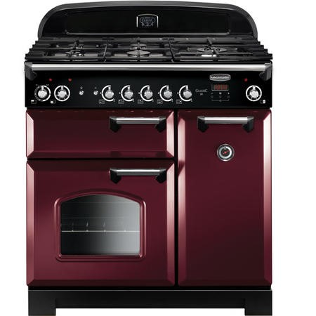 Rangemaster CLA90DFFCYC 11651 Classic 90cm Dual Fuel Range Cooker  - Cranberry With  Chrome Trim