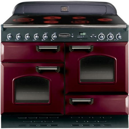 Rangemaster 84560 Classic 110cm Electric Range Cooker With Ceramic Hob - Cranberry And Chrome