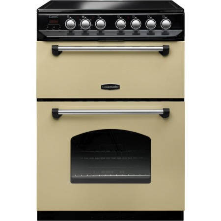 Rangemaster 10734 Classic 60cm Electric Double Oven Cooker With Ceramic Hob Cream And Chrome