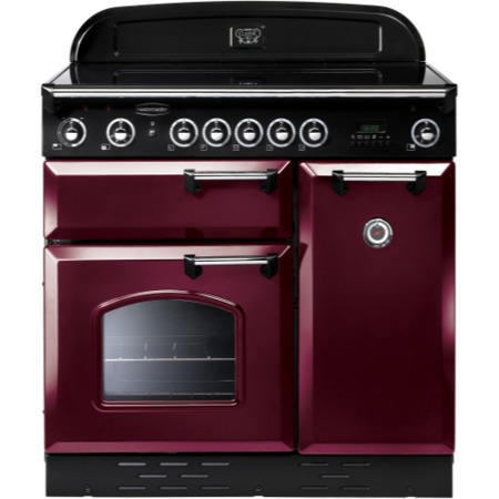 Rangemaster 87690 Classic 90cm Electric Range Cooker With Induction Hob - Cranberry And Chrome