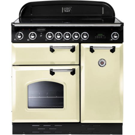 Rangemaster 87650 Classic 90cm Electric Range Cooker With Induction Hob - Cream And Chrome