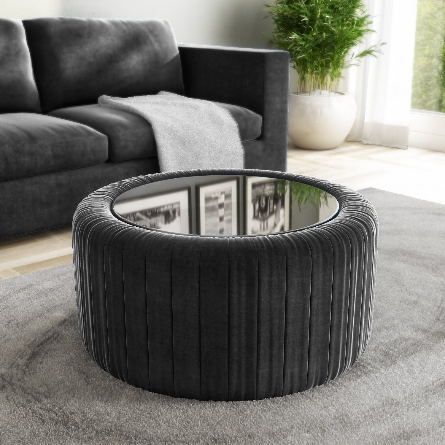 Grey Velvet Ottoman Storage Pouffe With Glass Top Coffee Table