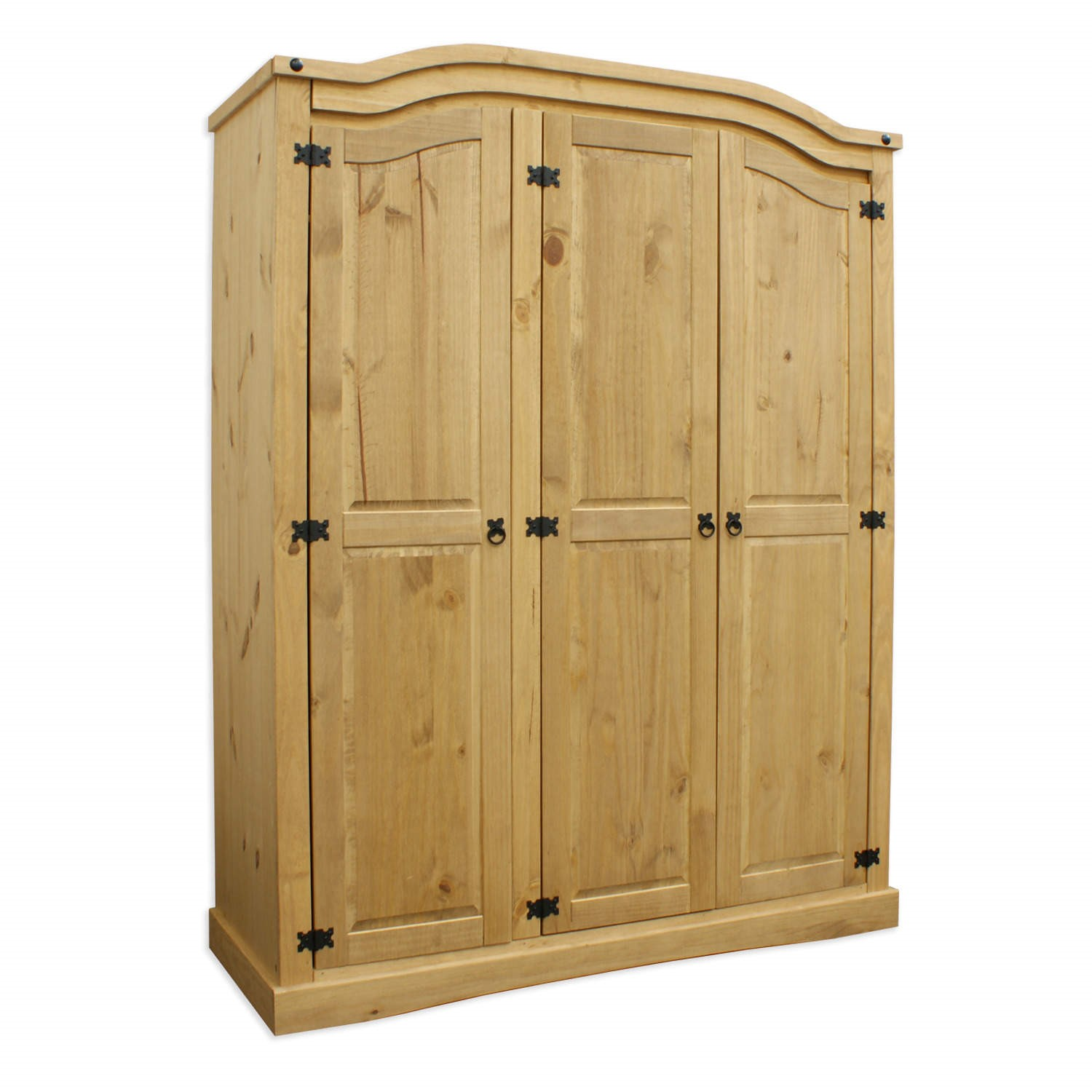 Mexican rustic solid wooden pine corona 3 door wardrobe for 1 door wardrobe with shelves