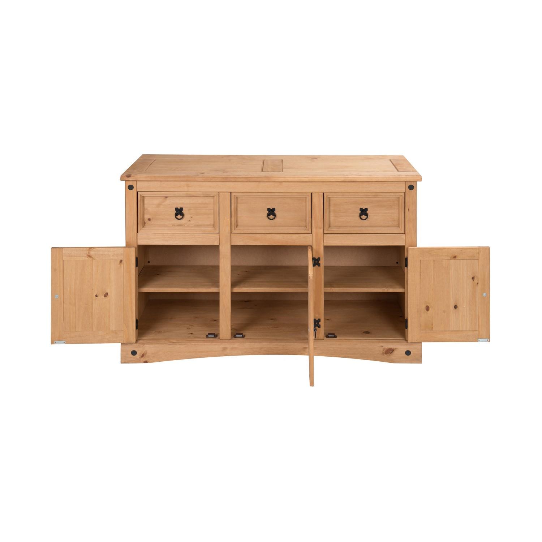 Corona Mexican Solid Pine 3 Door 3 Drawer Sideboard COR043 5056096006964 eBay