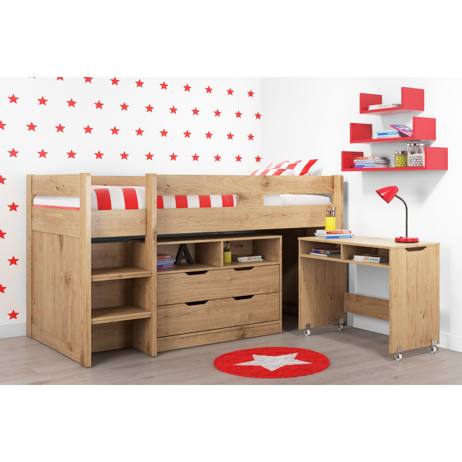 Cosmo Mid Sleeper Bed in Oak with Pull Out Desk | eBay