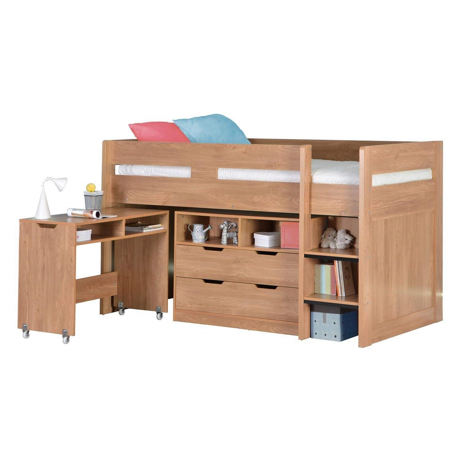 cosmo mid sleeper bed in oak with pull out desk ebay. Black Bedroom Furniture Sets. Home Design Ideas