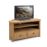 Julian Bowen Coxmoor Solid Oak Corner TV Unit with Storage Shelves & Drawers