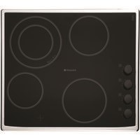 Hotpoint CRM641DX 60cm Ceramic Hob with Stainless Steel Frame in Black