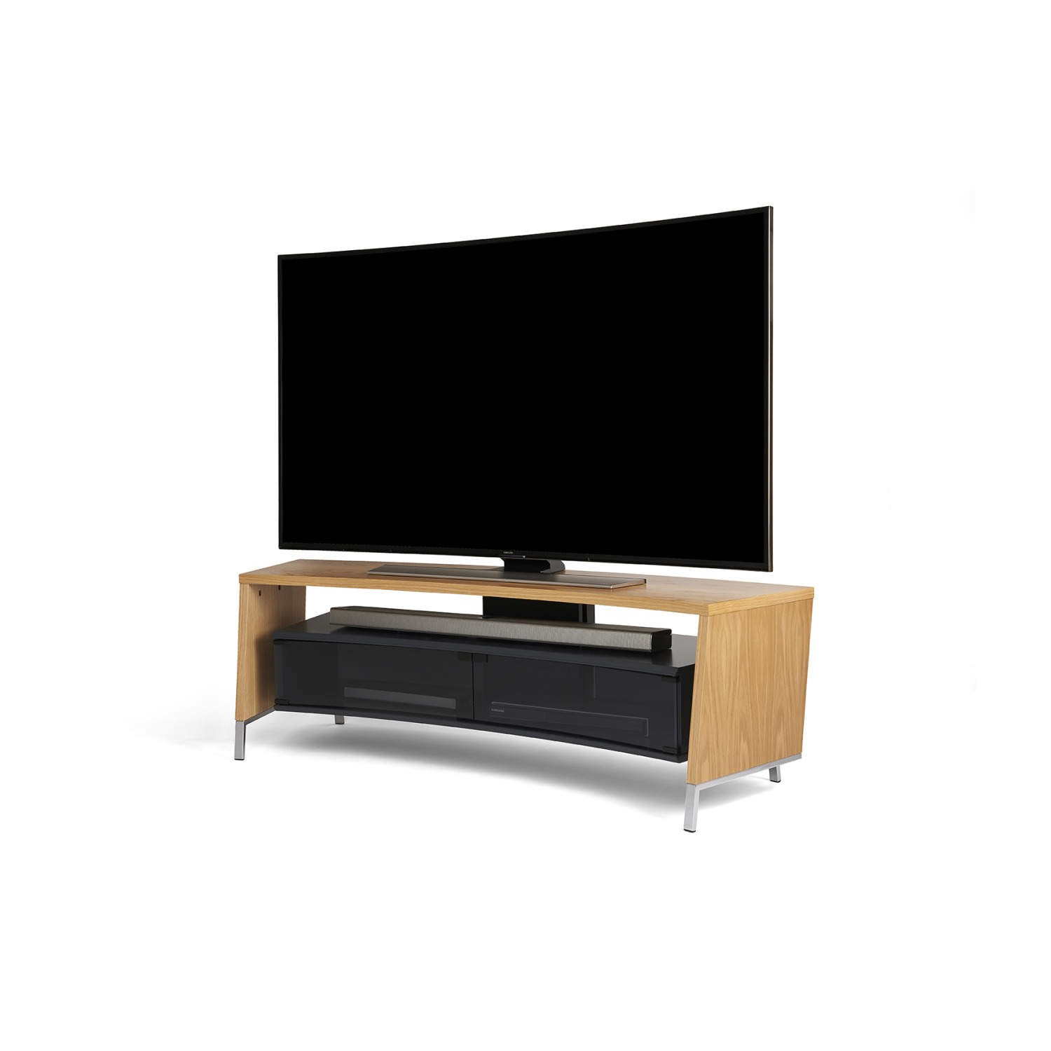 Off The Wall Curved 1500 Oak Tv Cabinet Up To 65 Inch Crv 1500 Oak