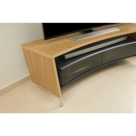 Off The Wall Curved 1500 Oak TV Cabinet - Up to 65 Inch