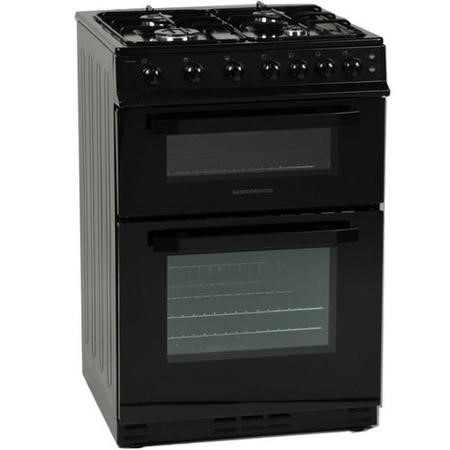 NordMende CTG61BK Gas Twin Cavity Black Freestanding 60cm Cooker