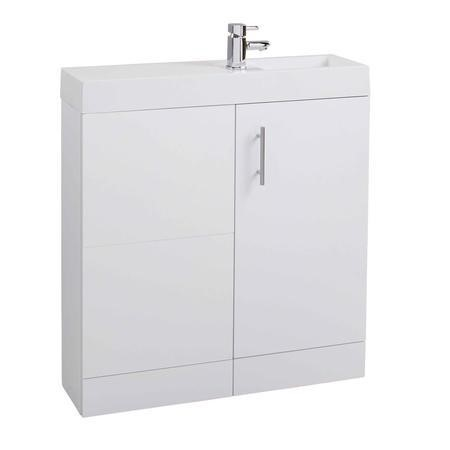 White Free Standing Bathroom Right Hand Vanity Unit & Basin - W800mm
