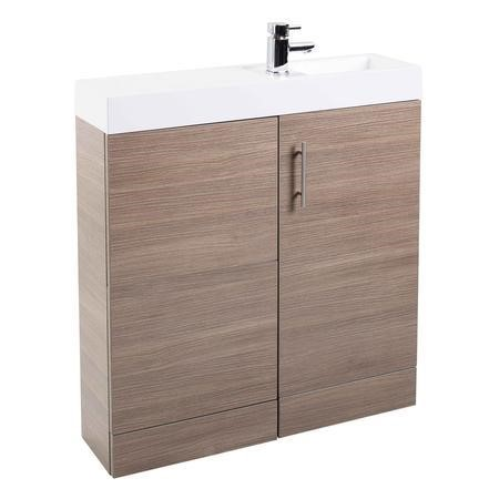 MicroPlus Medium Oak Right Hand Vanity Unit Furniture Suite - Includes Basin Only - 800mm