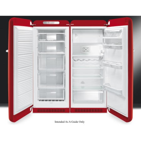 Smeg CVB20LR1 60cm Wide Retro Style Left Hinge Freestanding Upright Freezer - Red