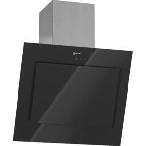 Neff D36E49S0GB Angled 60cm Chimney Cooker Hood With Black Glass Canopy