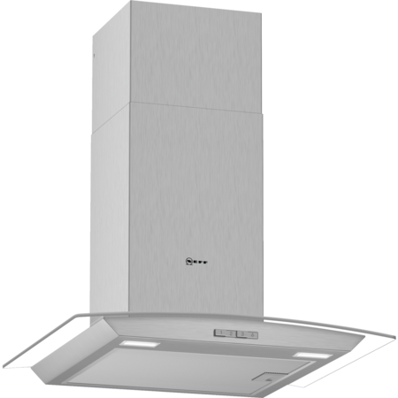 Neff D64ABC0N0B 60cm Chimney Cooker Hood With Curved Glass Canopy - Stainless Steel
