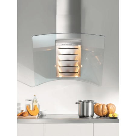 Miele DA289-4 Angled 90cm Stainless Steel Chimney Cooker Hood With Curved Glass Canopy