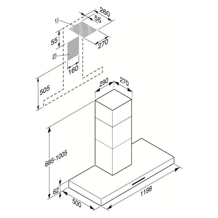 Miele DA422-6 Purist Plus 120cm Wide Box Design Chimney