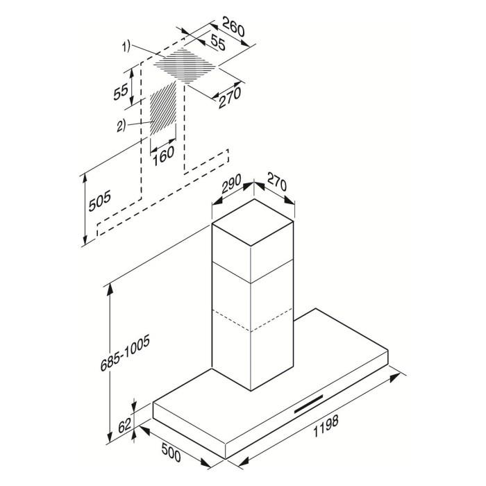 Miele DA422-6EXT Purist Plus 120cm Wide Box Design Chimney