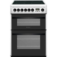 Hotpoint DCN60P 60cm Double Oven Electric Cooker With Ceramic Hob - White Best Price, Cheapest Prices