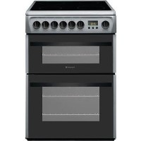 Hotpoint DCN60S 60cm Double Oven Electric Cooker With Ceramic Hob - Silver Best Price, Cheapest Prices