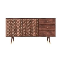 Dejan Large Storage TV Unit in Dark Wood with Gold Inlay - 2 Doors 3 Drawers